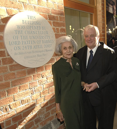 Mrs Ellie Ioannou with Lord Patten on the opening day. © Rob Judges 2007