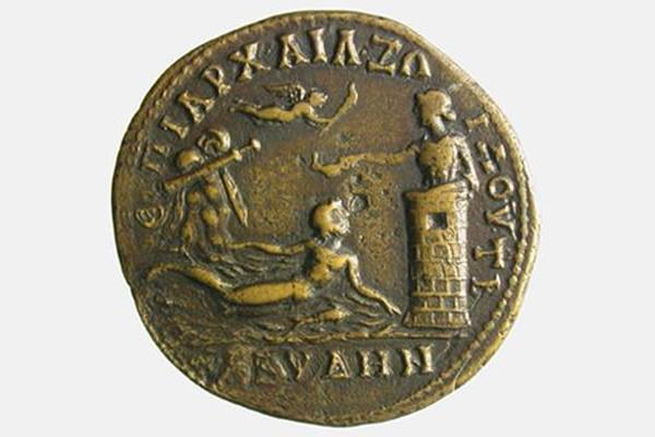 Coin minted at Abydus (north-west Turkey) in AD 177-180, depicting the myth of Hero & Leander.