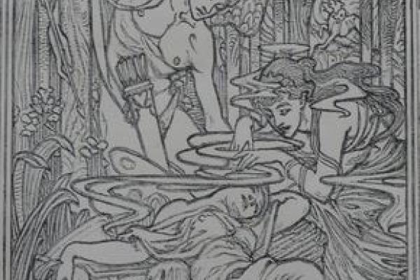 Cupid rescues Psyche –Herbert Granville Fell, 1926 [author's photo from engraving in author's collection]